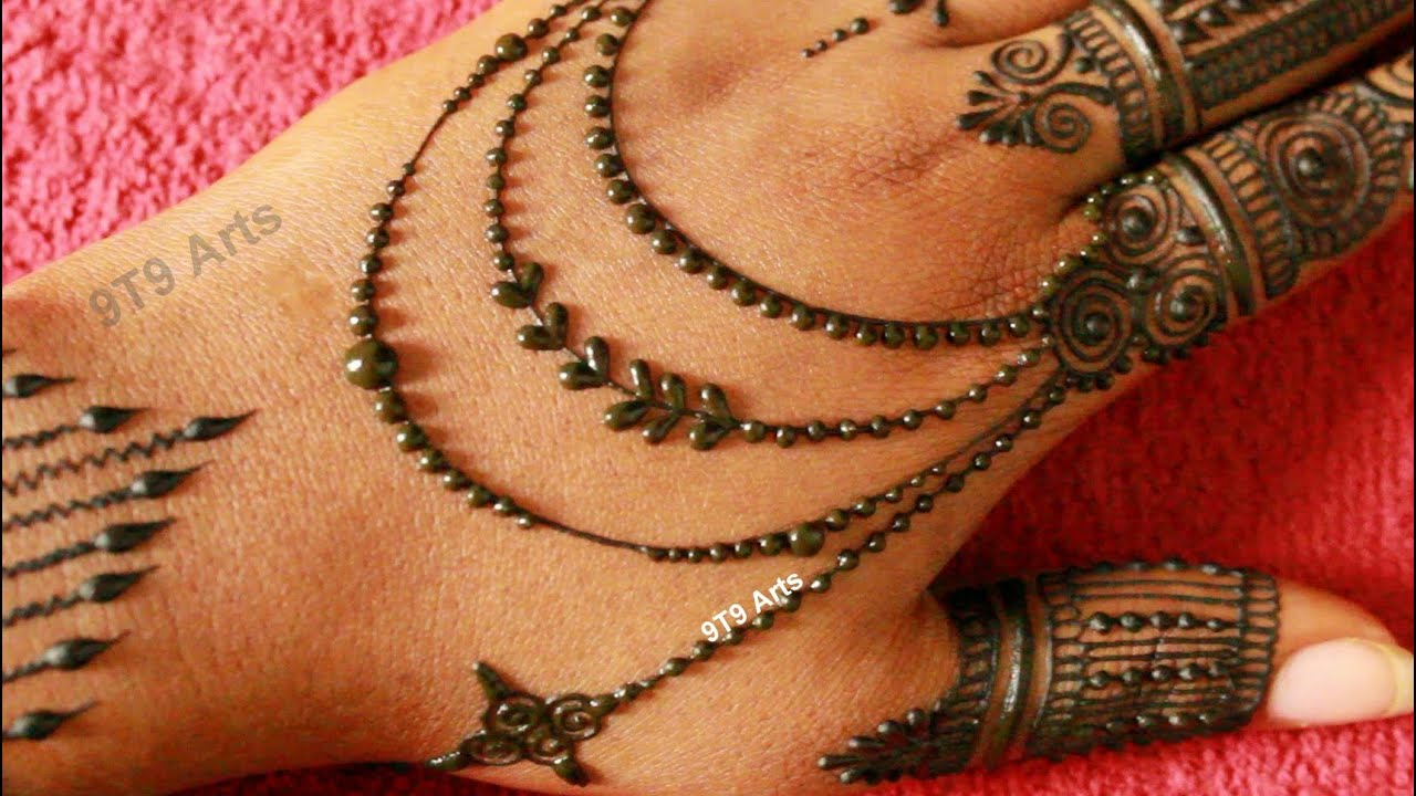 Beautiful Back Hand Jewellery Mehndi Designs||Janmashtami 2020 Easy Stylish Mehndi||Gol tikki mehndi