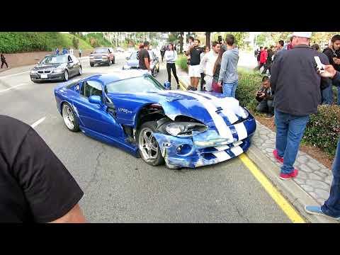 Dodge Viper CRASH leaving Cars & Paws meet **FAIL**