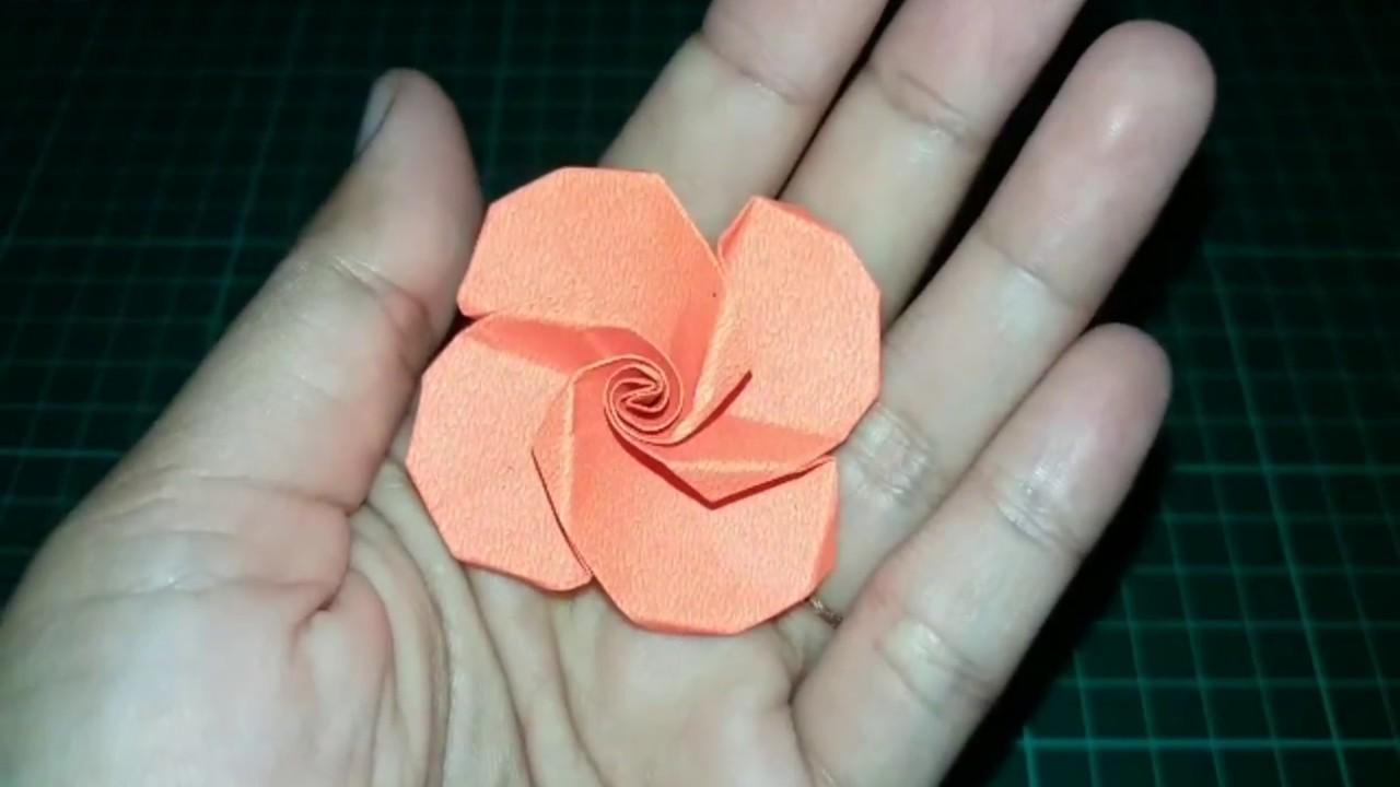 How To Make Beautiful Origami Rose Flower Cara Membuat Origami Bunga Mawar Youtube