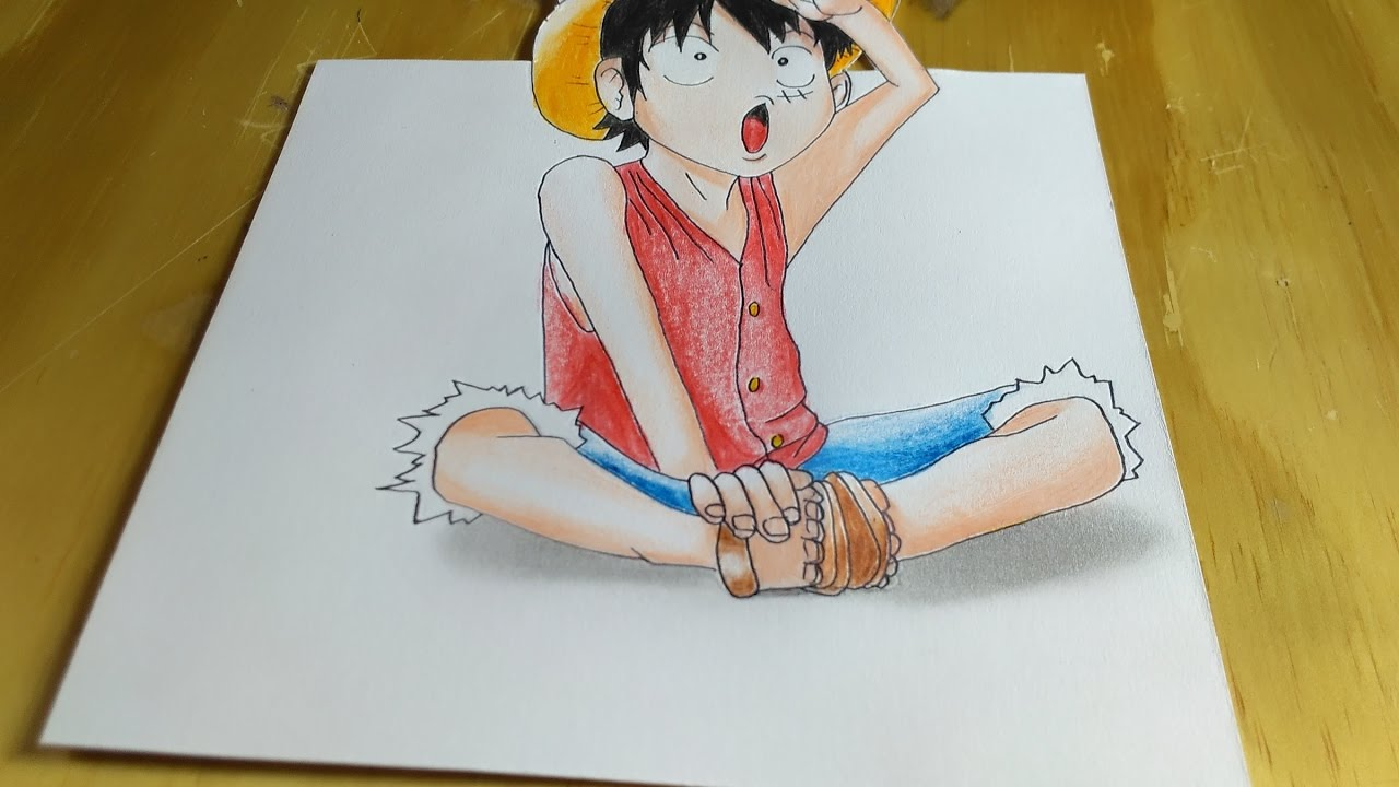 One peace menggambar luffy kecil one peace 3d drawing litle luffy one piece in 3d