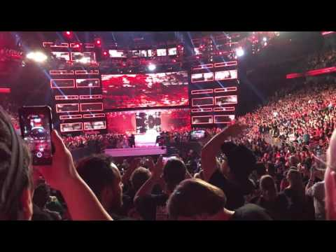 Fans sing along to Vince Mcmahon's entrance theme on the WWE Raw After Wrestlemania 33 Live