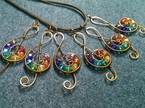 treble clef pendant with stones rainbow colors - Wire Wrapping Ideas 163