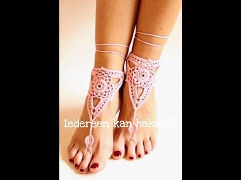 Iedereen kan haken© Ibiza, blote voeten sandalen, barefoot crochet, leren haken. Nederlands