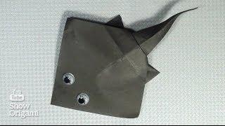 Оригами рыба #скат. Инструкция как сделать рыбу скат из бумаги