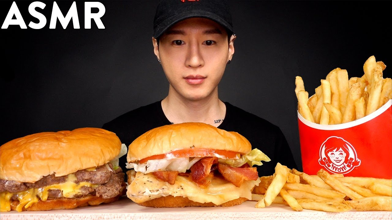 Asmr Chicken Blt Double Cheeseburger Mukbang No Talking Eating Sounds Zach Choi Asmr