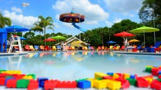 LEGOLAND Florida Hotel Pool Tour at LEGOLAND Resort - Day, Night, Bricks in Pool, Aerial Views