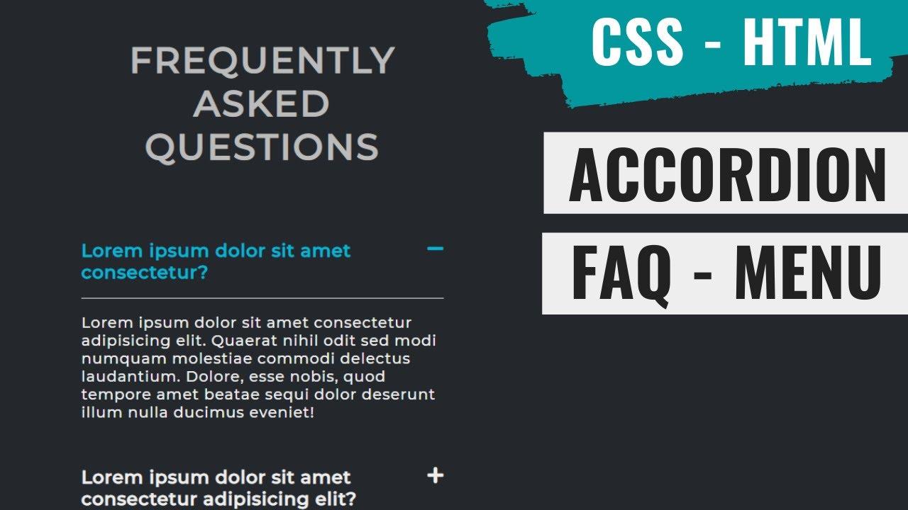 Accordion Faq Menu Using HTML and CSS
