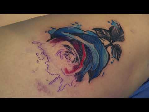 WATERCOLOR ROSE TATTOO TIMELAPSE