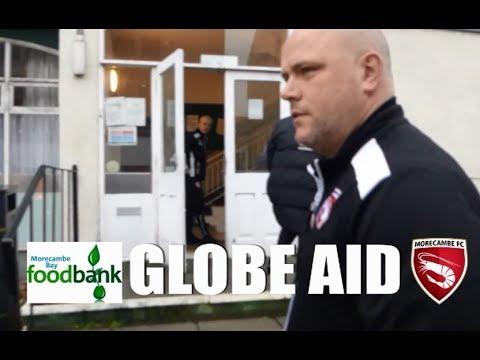 Morecambe Bay Foodbank Globe Aid Morecambe Fc Pay A Visit