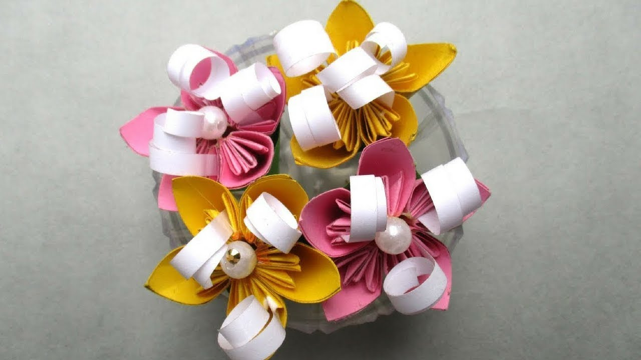 How To Make Small Bouquet Paper Flowers | Full Tutorial By Sugi ...