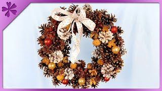 DIY How to make Christmas wreath out of newspaper and pine cones (ENG Subtitles) - Speed up #420