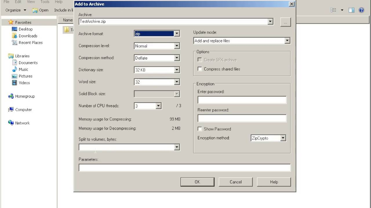 How to split archive file on volumes in 7-Zip