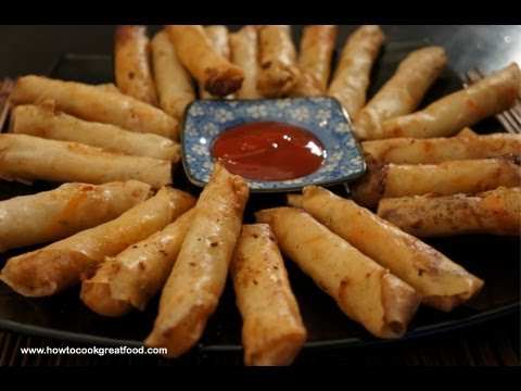 Vegetable Spring Rolls Recipe - Homemade how to Spring Roll -  Asian Chinese Wok