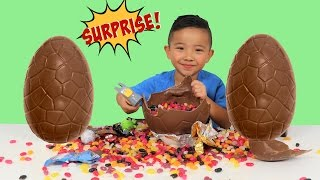 SMASHING 3 Giant Chocolate Eggs Toy Surprise Disney Cars Paw Patrol Toy Story Ckn Toys