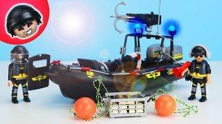 Polizei Einsatz mit SEK Schlauchboot - Playmobil Polizei - KARLCHEN KNACK