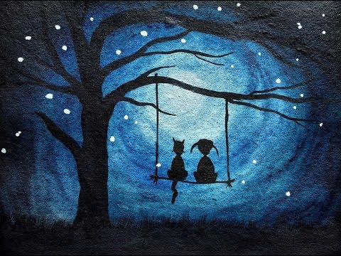 how to paint moonlight scenery for kids | Simple watercolor painting tutorial