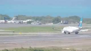 Spotting at V.C Bird: WESTJET 737-700 HARD LANDING!! 1080p HD
