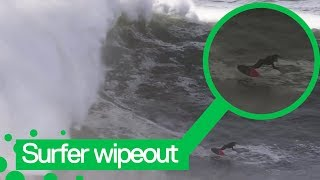 Surfer's has massive wipeout followed by incredible jet ski rescue in Portugal