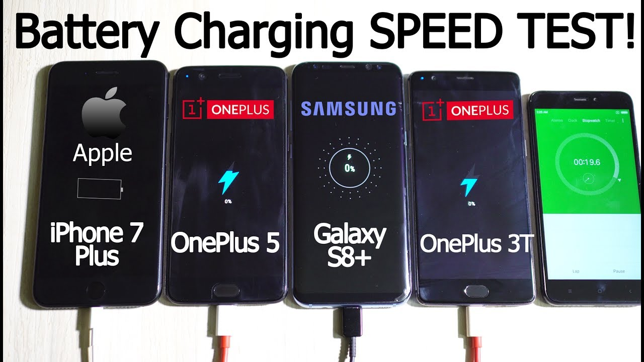 finest selection 4c0bb 09e39 OnePlus 5 vs 3T vs Galaxy S8+ vs iPhone 7 Plus- BATTERY CHARGING Speed Test!