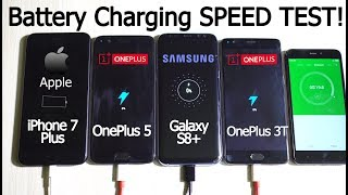 OnePlus 5 vs 3T vs Galaxy S8+ vs iPhone 7 Plus- BATTERY CHARGING Speed Test!
