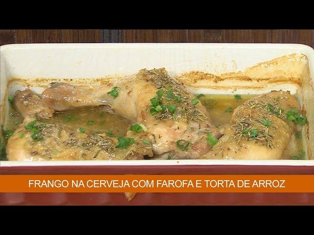 Frango na Cerveja com Farofa e Torta de Arroz