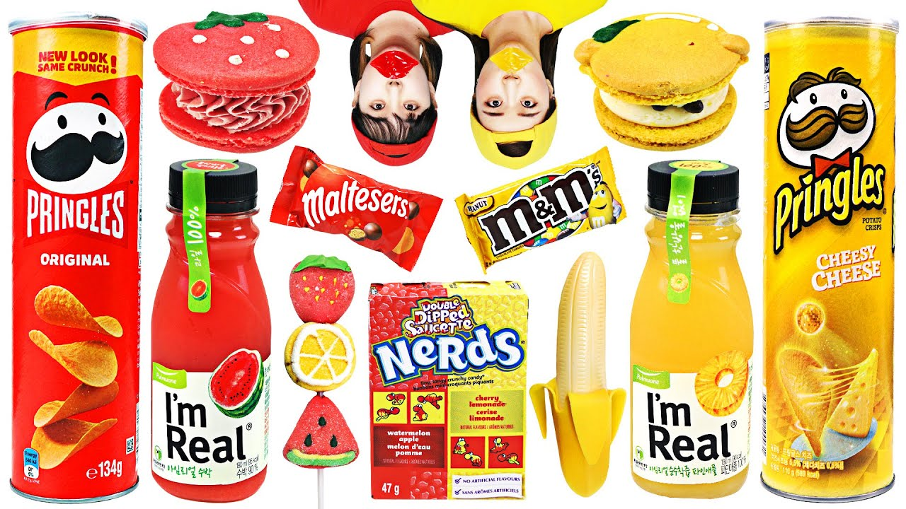 Red vs Yellow food mukbang challenge by yomi yami