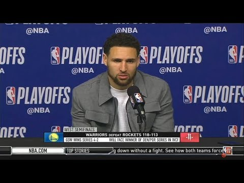 k.-thompson-(gs)---postgame-conference-|-warriors-def.-rockets-118-113-|-nba-playoffs-2019