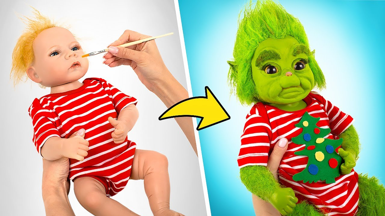 Transformação Impressionante de Boneco Bebê em Bebê Grinch