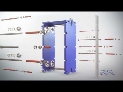 Alfa Laval assembly of gasketed plate heat exchanger for industrial use