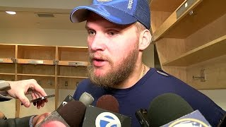 Robin Lehner talks with media after he was pulled from Sabres loss to Maple Leafs