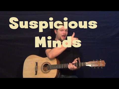 Suspicious Minds (Elvis Presley) Easy Guitar Lesson Strum Chord How to Play Tutorial