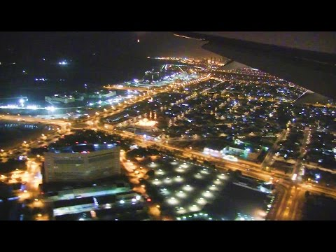 Emirates B777-300ER Night Landing Dubai