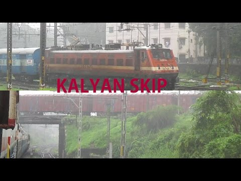 Kalyan SKIP of Pune Intercity, Parallel Action with Kashi Express, Goes under a freight train!!