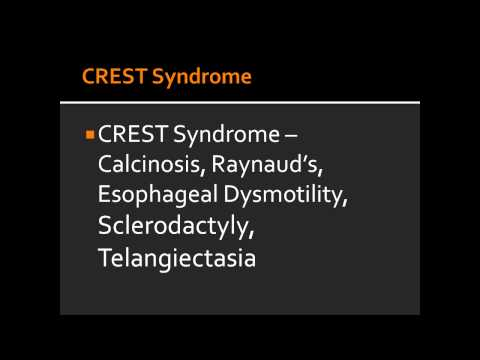CREST Syndrome -- Calcinosis, Raynaud's, Esophageal Dysmotility, Sclerodactyly, Telangiectasia