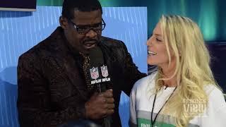 Michael Irvin interviews Zach Ertz & his wife Julie Ertz at Super Bowl Opening Night