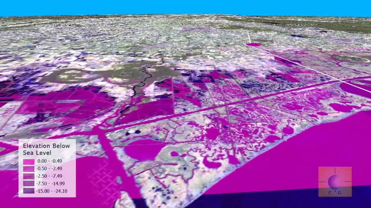 Anthropogenic Subsidence Elevations Below Sea Level Along Coastal - Louisiana sea level map
