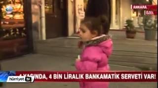 Bankamatik tuşlarına basarak oynayan küçük kız 4 bin tl para çekti
