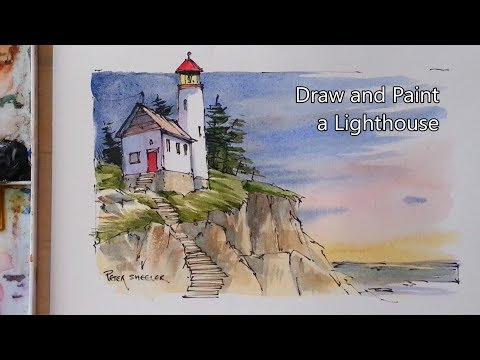 How to Draw and Paint a Lighthouse. Line and Wash Watercolor