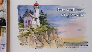 How to Draw and Paint a Lighthouse. Line and Wash Watercolor. Peter Sheeler