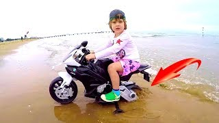 Tim's bike BMW RR stuck in the sand | Ride on Electric Mini Motorbike to Playground for Kids & Gym