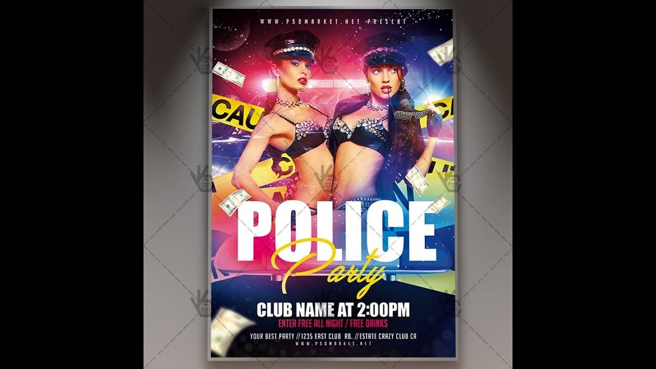 police party club flyer psd template youtube
