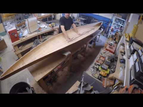 "Building ""Tiny"", the Double Kayak, Part ""One"", Fiberglassing the hull"