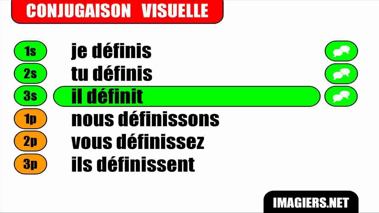 Conjugaison Indicatif Present Verbe Definir Youtube