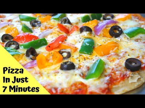Homemade Pizza Recipe Without Oven | Wheat Flour Pizza ( In Just 7 Minutes..!! )
