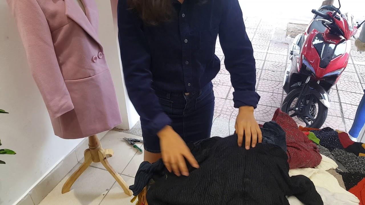 Khui kiện áo len dáng dài