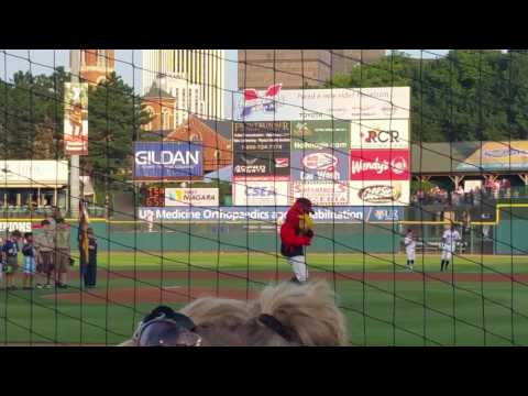 Rochester Red Wings team and boy scouts stands for national anthem