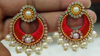 How To Make Silk Thread Bridal Pearls Earrings | Chandbaali Earrings | Raksha Bandhan Special |