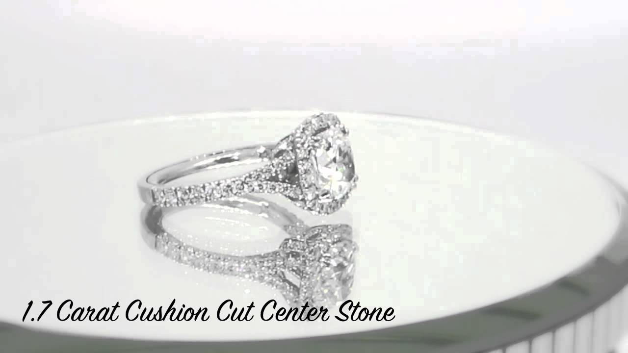 Split Shank Petite French Cut Engagement Ring With Matching Wedding