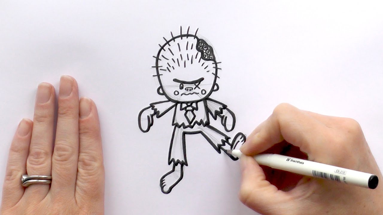 Zombie Face Line Drawing : How to draw a cartoon zombie for halloween youtube