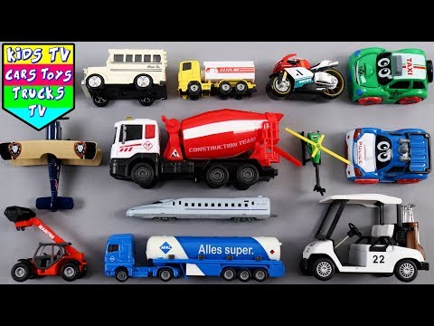 Learn Vehicles For Kids | Cement Mixer Trailer Truck Bullet Train London Taxi School Bus | Kids TV